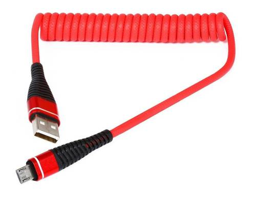 AM32   Micro USB 1M   Coiled USB cable to charge your phone   Quick Charge 3.0 2.4A