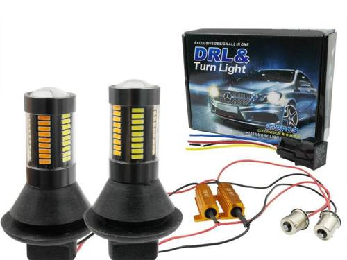 DRL with 2in1 indicator | Bulbs 66 SMD 4014 | Lights LED daytime | Automatic Module