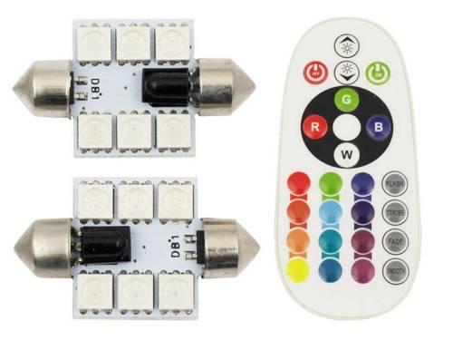 Set RGB C5W | Two RGB LED bulb C5W | Remote control color