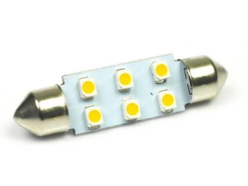 WW LED Bulb C5W Car 6 SMD 1210 White Heat