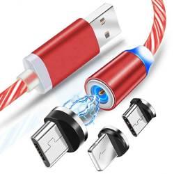 AM67 | 3in1 1M | Glänzende Magneten Kabel des Telefons mit 3 Tipps zum Aufladen