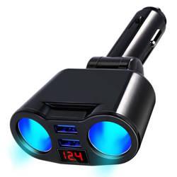 C10 | Rozdzielacz gniazda zapalniczki z 2 portami USB 3.1A | woltomierz