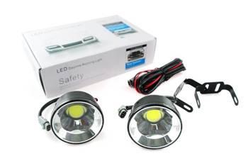 DRL 18 PREMIUM   Światła LED COB do jazdy dziennej   okrągłe ø 70 mm DRL-008O
