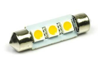 WW Żarówka samochodowa LED C5W 3 SMD 5050 Biała ciepła