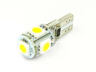 WW Żarówka samochodowa LED W5W T10 5 SMD 5050 CAN BUS Biała ciepła