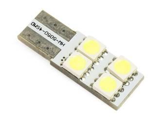 Żarówka samochodowa LED W5W T10 4 SMD 5050 CAN BUS BOCZNA