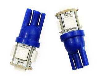 Żarówka samochodowa LED W5W T10 5 SMD 5050 NIEBIESKA