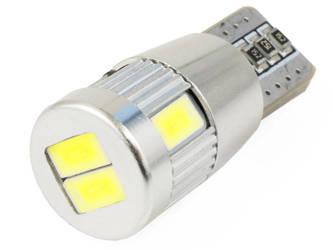 Żarówka samochodowa LED W5W T10 6 SMD 5630 SUPER CAN BUS bez soczewki