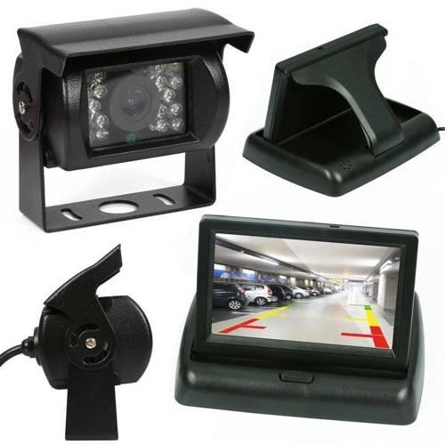 """2w1   PZ704 PZ470   Zestaw - kamera cofania 18IR 12-24V ze składanym monitorem 4,3"""" LCD TFT"""