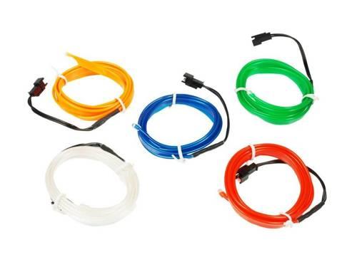 Zestaw - Światłowód Ambient Light EL Wire z inverterem 12V | 5 metrów